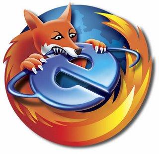 Sátira do símbolo do Firefox, o principal rival do Internet Explorer, da Microsoft.